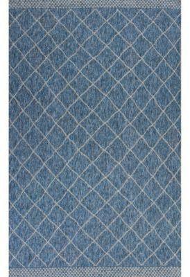 Kas Farmhouse Rustico 7-Foot 7-Inch x 10-Foot 10-Inch Indoor/Outdoor Area Rug in Blue