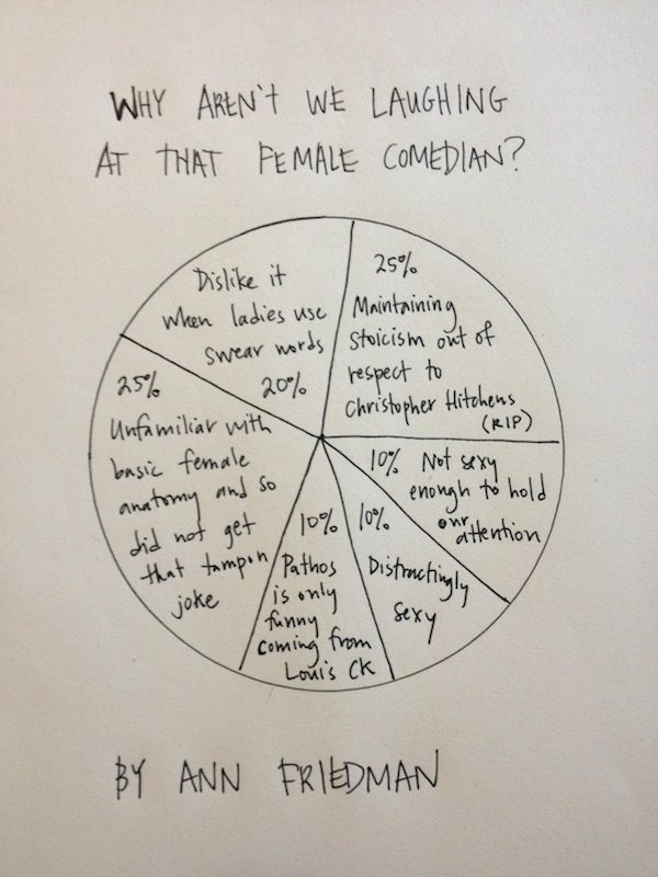 Hilarious send up by Ann Friedman of The Hairpin, who investigates Why Aren't We Laughing at that Female Comedian?