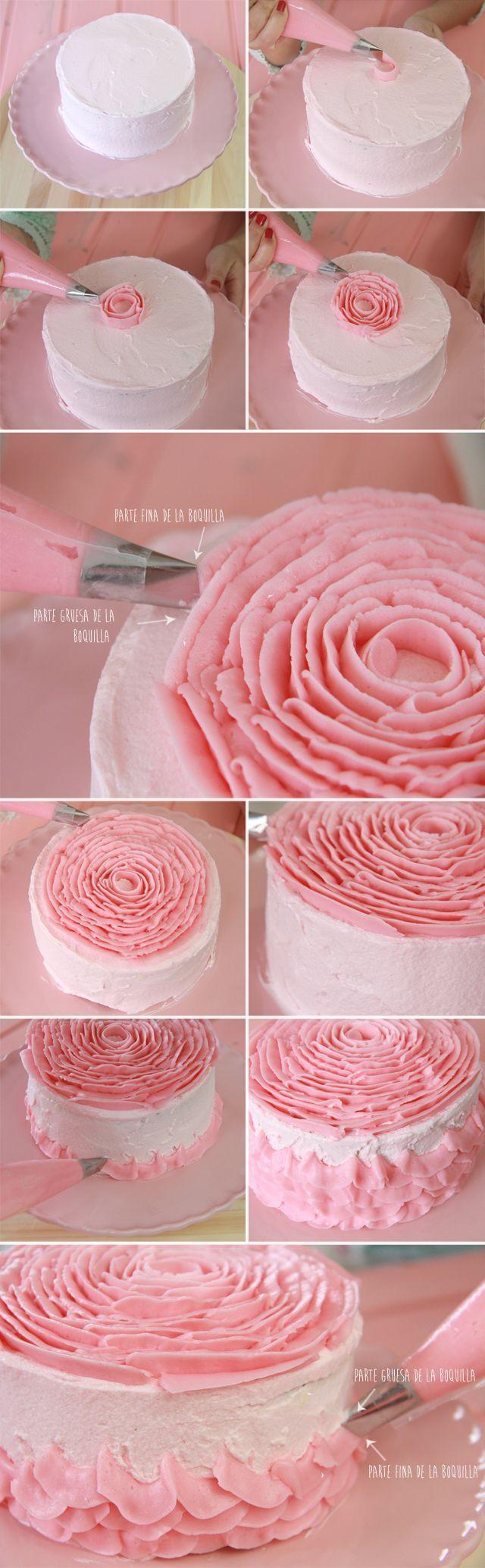 Tutorial Tarta de Rosa - Not in English, but lots of pics - Tip 104: Cake Tutorial, Buttercream Ruffle Cake, Pretty Cake, Buttercream Rose, Buttercream Cake, Rose Cake, Pink Rose
