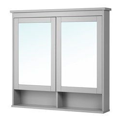 """IKEA - HEMNES, Mirror cabinet with 2 doors, white, 32 5/8x6 1/4x38 5/8 """", , The adjustable shelf is extra heat- and impact-resistant and has a high load-bearing capacity since it is made of tempered glass.The mirror comes with safety film on the back, which reduces the risk of injury if the glass is broken."""