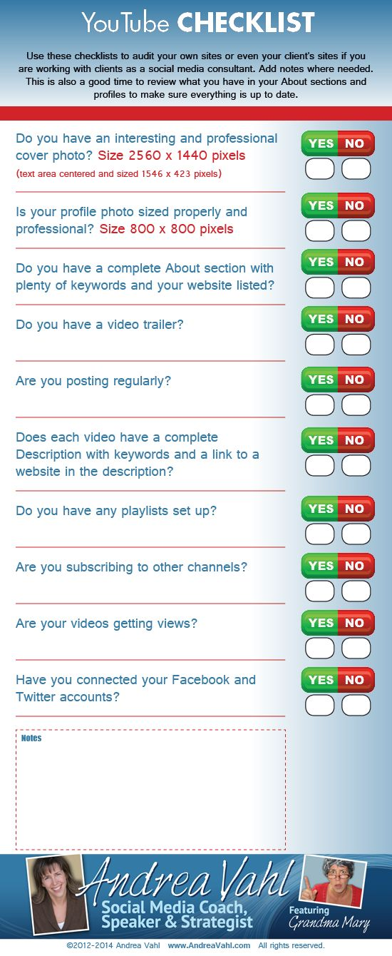 Another fabulous Inforgraphic from the wonderful Andrea Vahl.  YouTube Checklist [Infographic]
