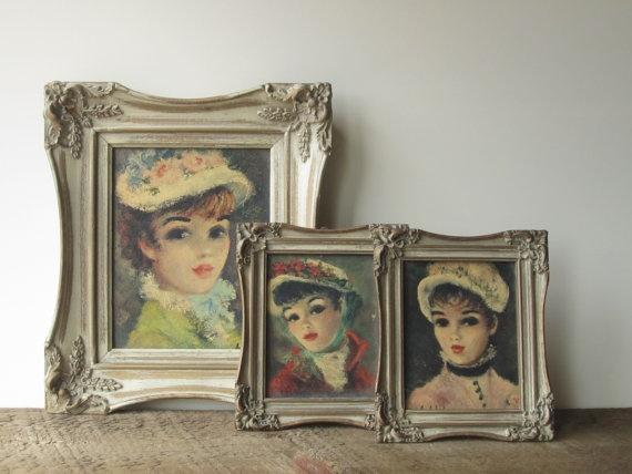 Vintage French Art / Framed Huldah Prints by SwoonVintageAndSuch