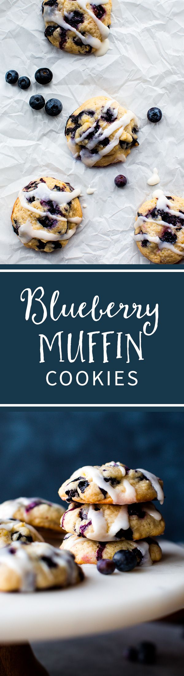 Soft blueberry cookies taste like muffin tops! Studded with juicy blueberries and topped with lemon glaze. Recipe on sallysbakingaddiction.com