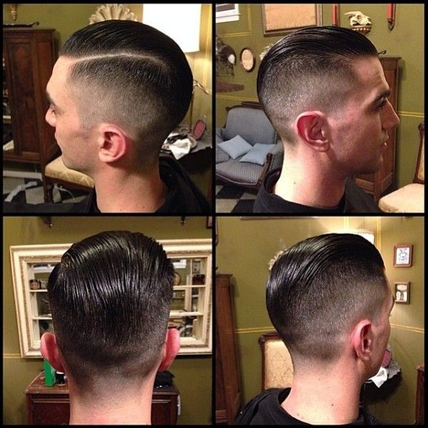 Cut by Chris from the iron society  Low fade side part pomp  Wake Up & Smell the Barbicide