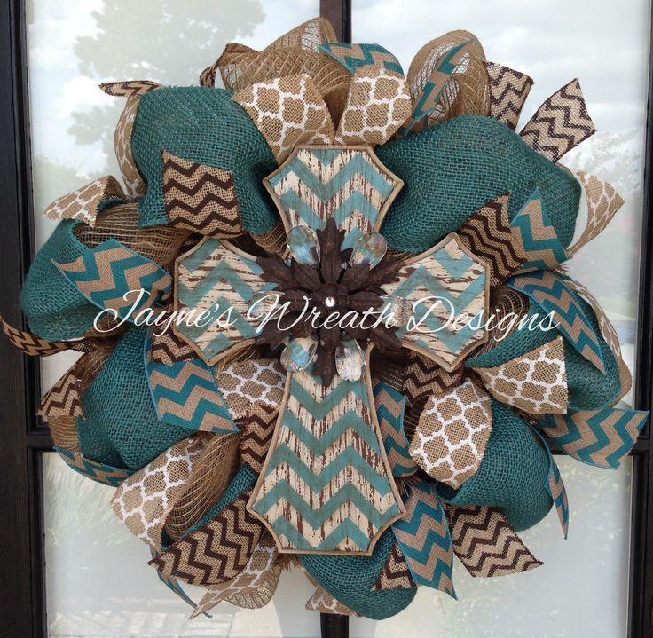Burlap Cross Wreath with chevron, turquoise and quatrafoil ribbons
