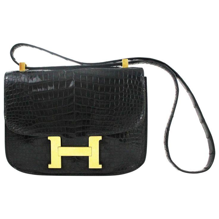 Hermes Black Exotic Leather Handbag Constance | Vestiaire ...