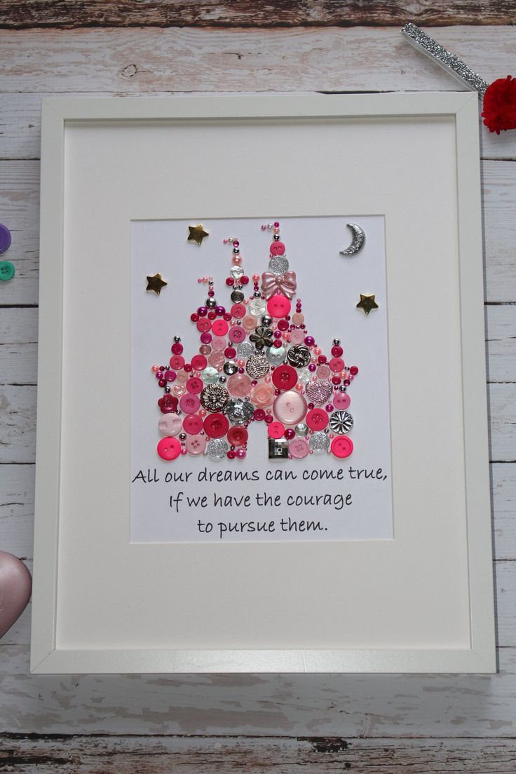 Personalized Button Picture, Button Art, Castle Art, Castle Picture, Disney Castle, Princess Room, by TheTravelingMonkey26 on Etsy https://www.etsy.com/listing/511434201/personalized-button-picture-button-art
