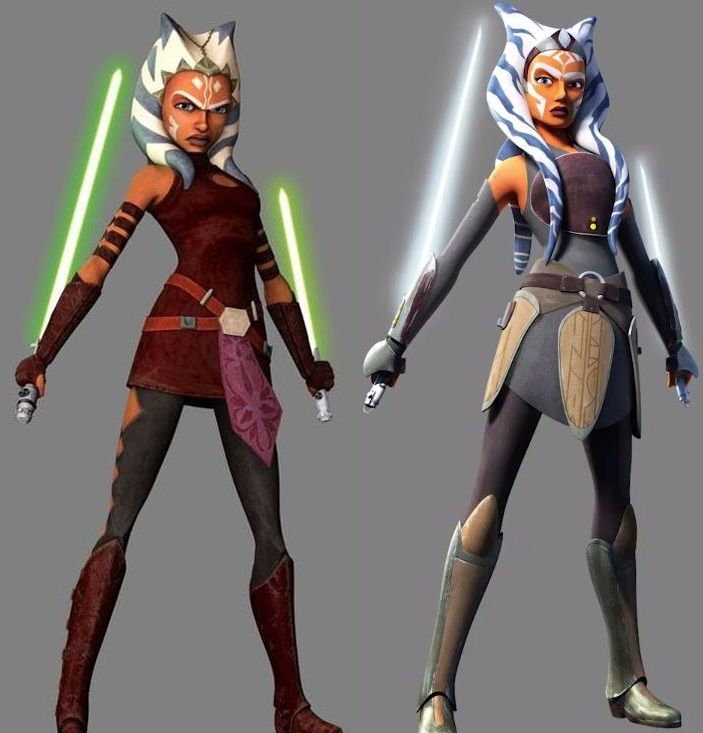 ahsoka tano in her teens during star wars the clone wars and her as an adult