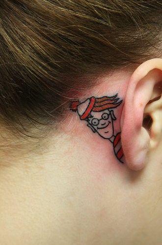 awesomeness.Tattoo Ideas, Awesome Tattoo, Stuff, Ears Tattoo, Waldo, Funny Tattoo, A Tattoo, So Funny, Ink