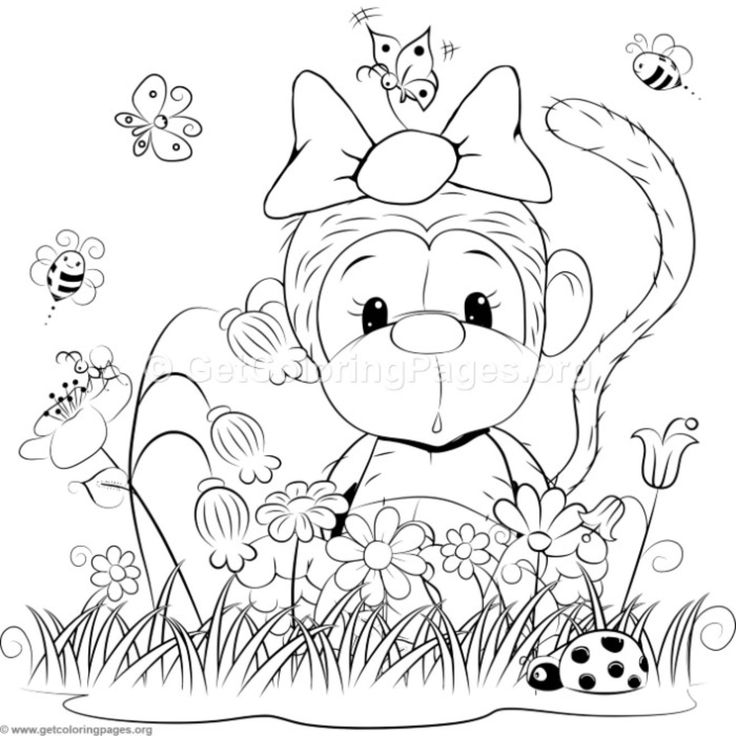 christmas monkey coloring pages | 8102 best Color iT - My StRess Release images on Pinterest ...