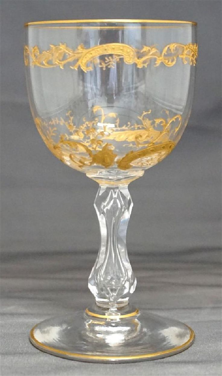 10 ST. LOUIS CRYSTAL MICADO GOLD ETCHED CLARET GLASSES - 2