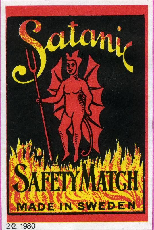 Satanic, #tulitikkuetiketit, #Sweden #matches #labels