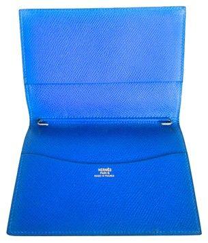 hermes shoulder bags - HERMES Blue de France Courchevel Leather Agenda / Passport Cover ...
