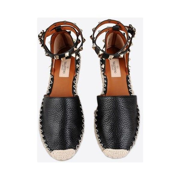 Rockstud Double Espadrilles ($615) ❤ liked on Polyvore featuring shoes, sandals, espadrilles shoes, espadrille sandals, valentino shoes, valentino sandals and valentino espadrille