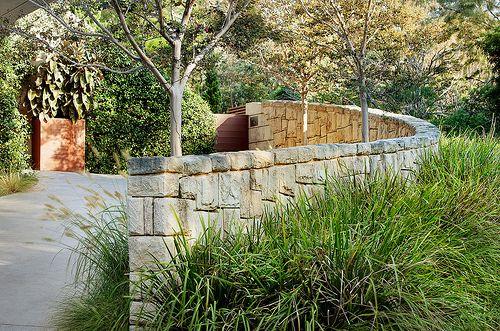 Sandstone wall, drive & grasses
