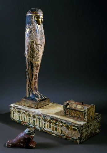 God Ptah-Sokar-Osiris, funerary statue in plastered and painted wood, with a small sarcophagus on pillars on a base of the same ilk, height 57 cm, Egyptian Civilization, Ptolemaic Period