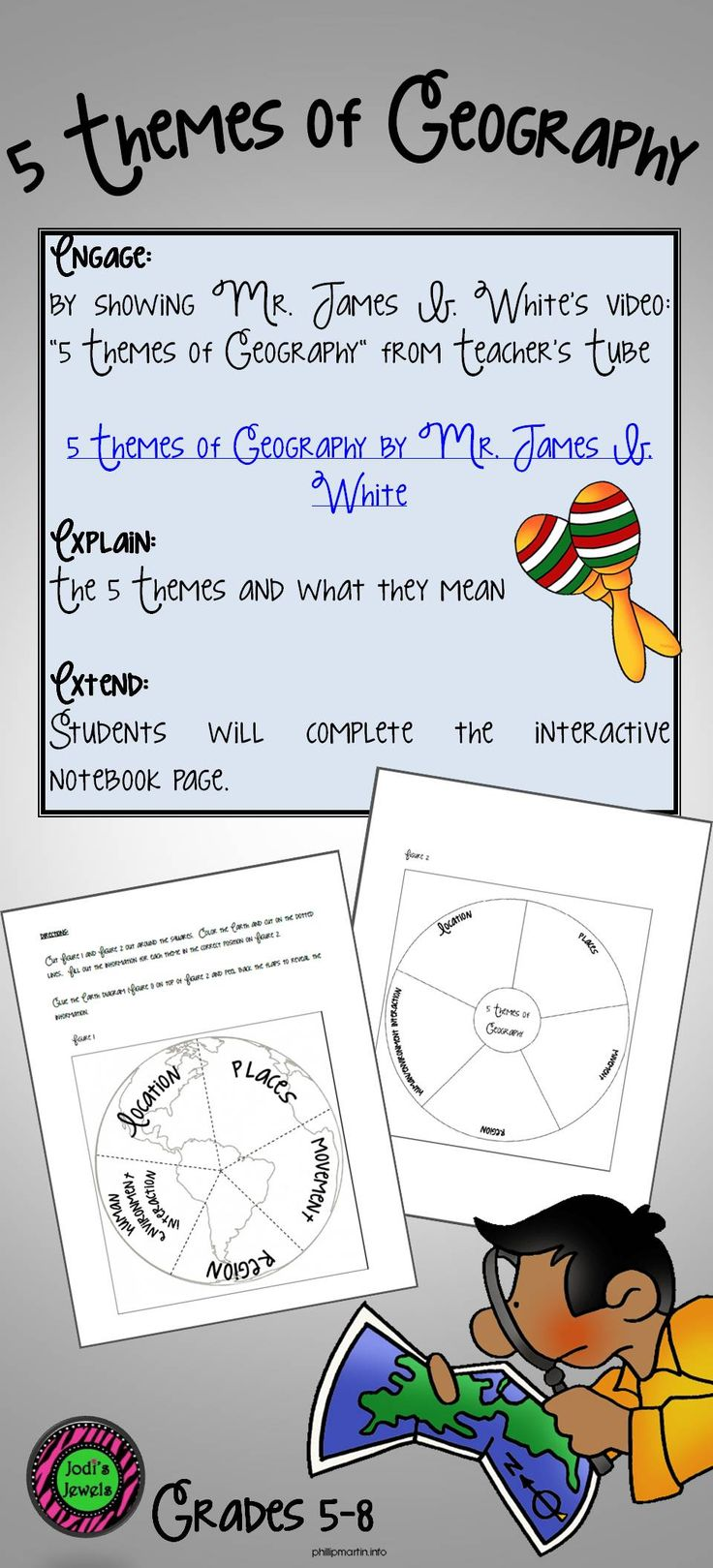 Engage, explain, and extend the 5 Themes of Geography with this interactive notebook activity. Engage portion of the instructions include a hyperlink to a video my kids love!