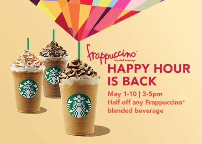 It's almost here! #Starbucks Frappuccino Happy Hour 2015  is back May 1-10th! Get half off any #Frappuccino between 3-5pm