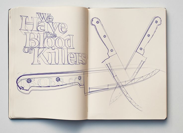 """Typographic sketch """"We Have The Blood Of Killers"""" - The Sound Of  Breaking Glass - T/S/O/B/G"""
