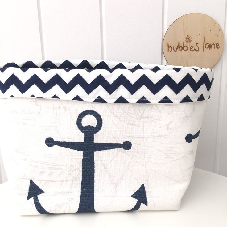 Navy anchor with navy chevron fabric basket