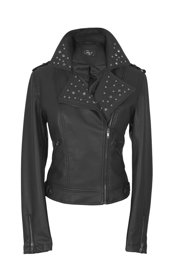 Black leather biker jacket with collar stud detail