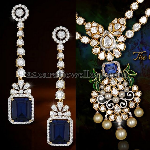 Jewellery Designs: Blue Sapphires Hangings and Choker