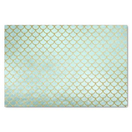 trendy mint gold glitter mermaid scales tissue paper mint gold