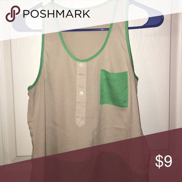 Tan and green tank top Tan and dark mint green tank top with buttons Naked Zebra Tops Tank Tops