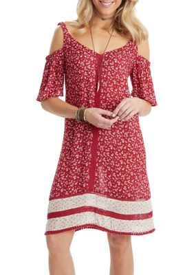 Democracy Women's Cold Shoulder Border Print Dress - Rhubarb - Xl
