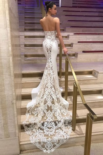 Modern Four Way Spandex & Organza Sweetheart Neckline Mermaid Wedding Dresses With Lace Appliques,565 from Happybridal