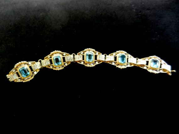 Gorgeous Italian Art Deco Aquamarine bracelet  5 by RAKcreations
