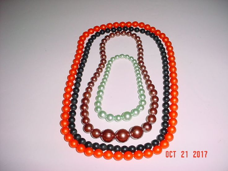 """VINTAGE LOT OF COLORFUL 1950'S - 60'S POP BEADS, A 92"""" STRAND IN FOUR (4) COLORS #Unknown"""