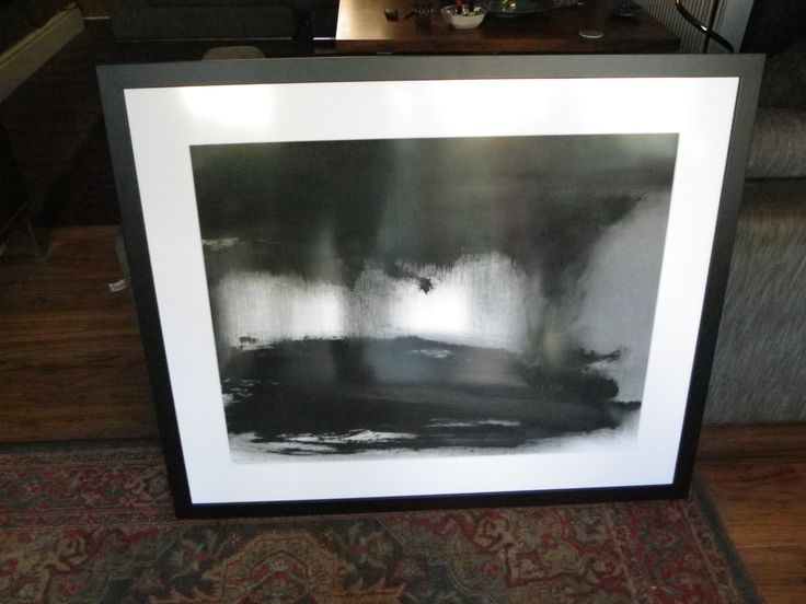Abstraction in monochrome 'Light in the Darkness 2 oil on paper sold