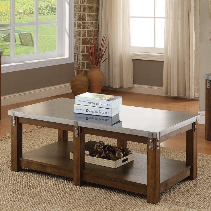 Coaster Furniture Metal Top Coffee Table with Shelf - 704548