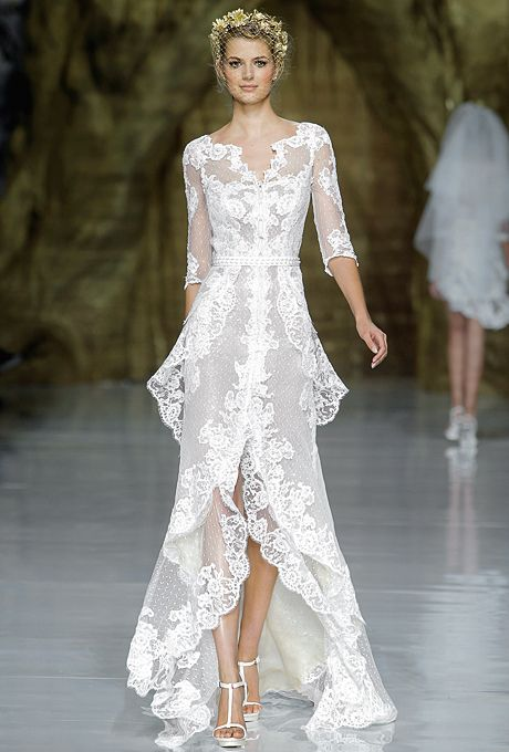 Brides.com: Pronovias Spring 2014 Long Sleeve Lace Wedding Dress   Click to see more from this collection!