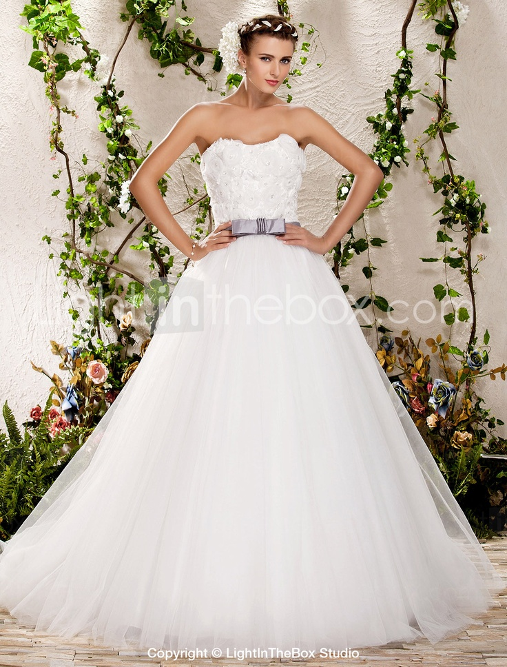 A-line Ball Gown Strapless Sweep/Brush Train Tulle Wedding DressDresses Wedding, Strapless Sweep Brushes, Wedding Dressses, Sweep Brushes Training, Ball Gowns, Tulle Wedding Dresses, A Lin Ball, Gowns Strapless, Training Tulle