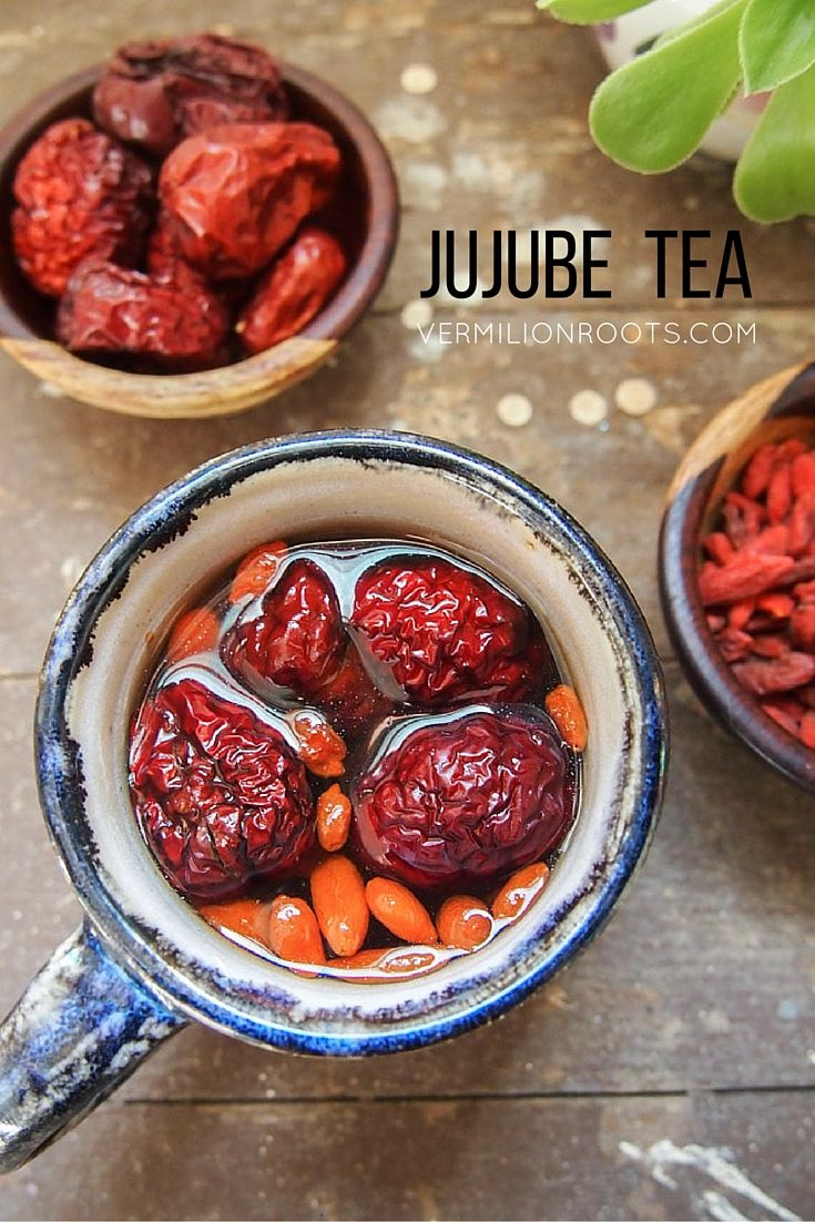 Jujube Tea with Cacao Nibs | vermilionroots.com. A delicious tea with earthy sweetness from dried jujubes and dried goji berries, and a hint of smokiness from cacao nibs.