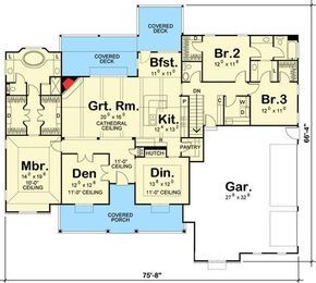 3 Bed Farmhouse with Covered Front Porch - 62443DJ | 1st Floor Master Suite, Butler Walk-in Pantry, CAD Available, Corner Lot, Country, Den-Office-Library-Study, Jack & Jill Bath, PDF, Split Bedrooms | Architectural Designs