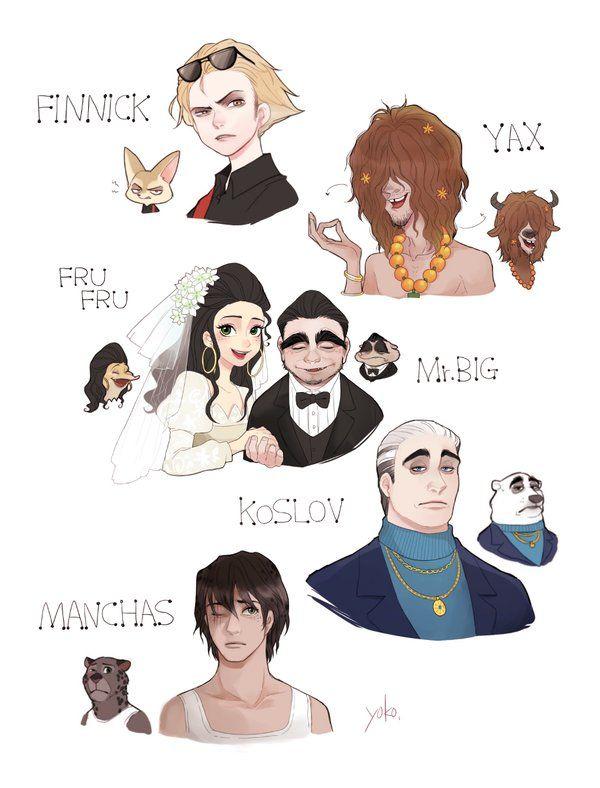Zootopia - Finnick, Yax, Fru Fru, Mr.Big, Koslov, and Manchas #gijinka