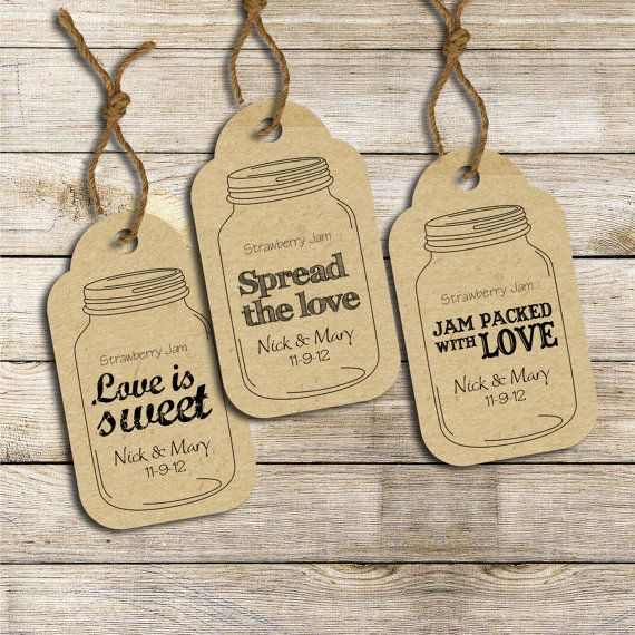 Wedding favor labels: Three customized ready-to-print Mason Jar tags (PRINTABLE) via Etsy