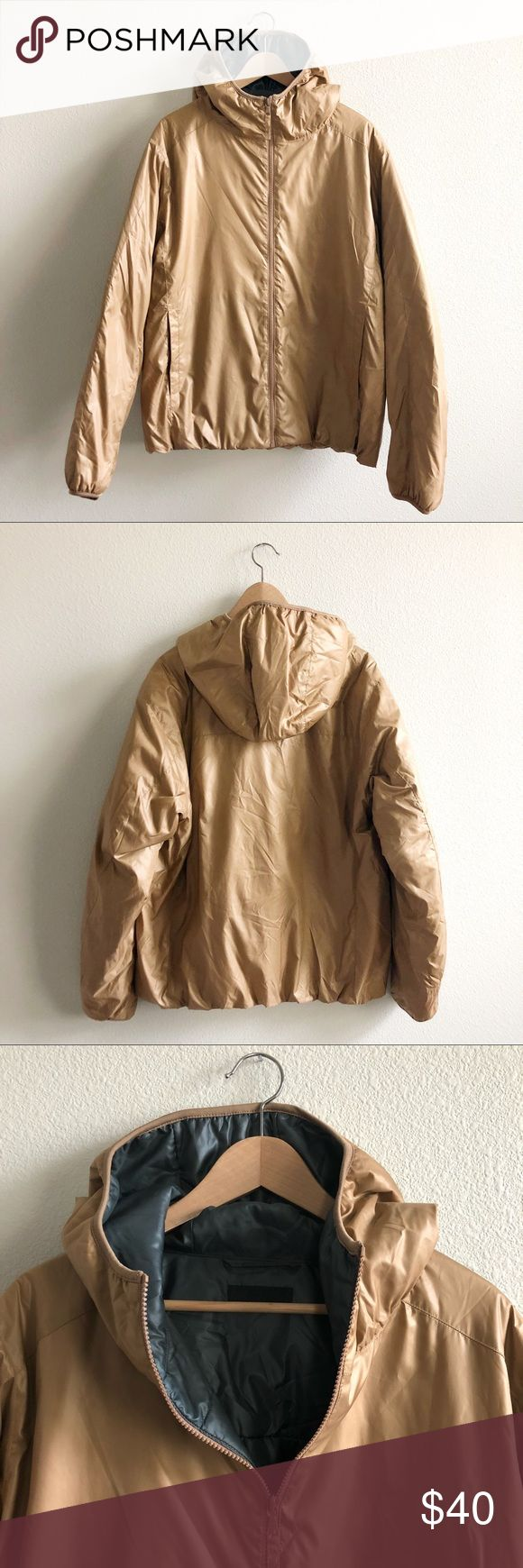 "UNIQLO - mens ultra light puffy jacket Light parka with color matched stitching & zipper. Dark champagne/tan shell & teal interior.   Chest 50""  Good used condition Uniqlo Jackets & Coats Puffers"