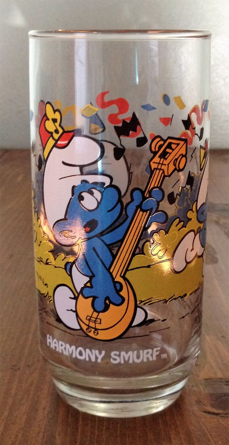 "Vintage 80s Smurf ""HARMONY"" Drink Glass Cartoon Retro 1980s Beverage Cup Kitchen Glassware Kids Childrens Woodland Cartoon Show by Piklandia on Etsy"