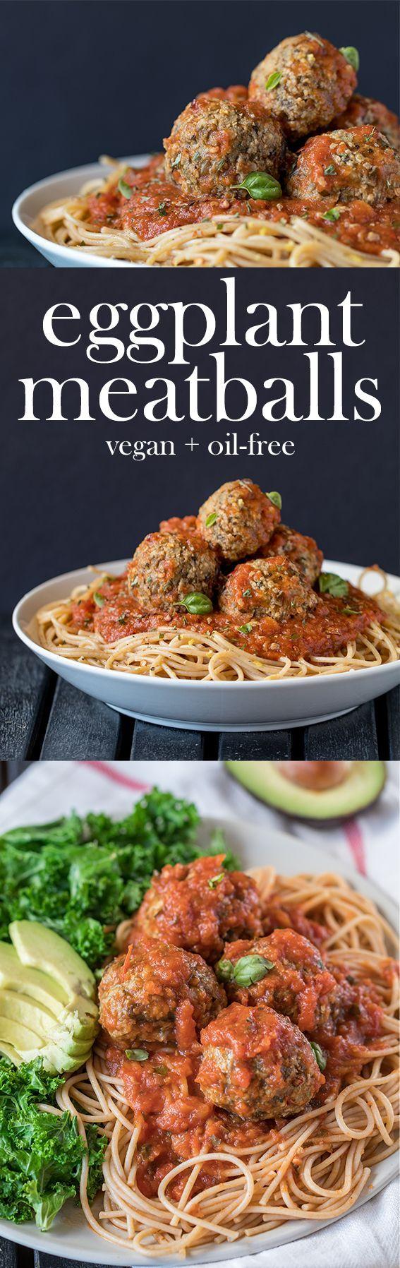 Vegan Eggplant Meatballs (Oil-free + Low-fat)