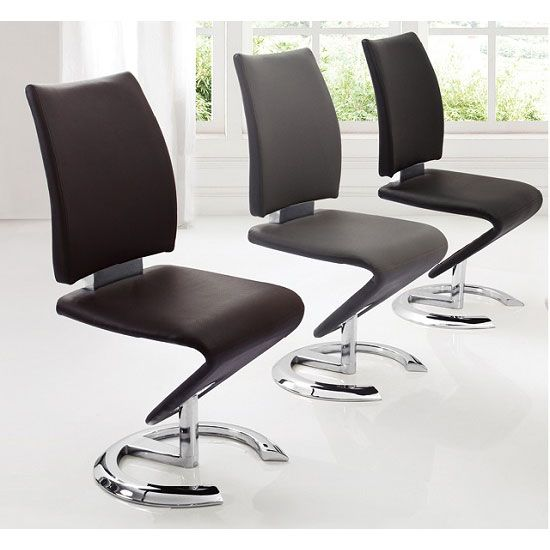 Nesta Modern Z Shape Dining Chair In Grey Faux Leather
