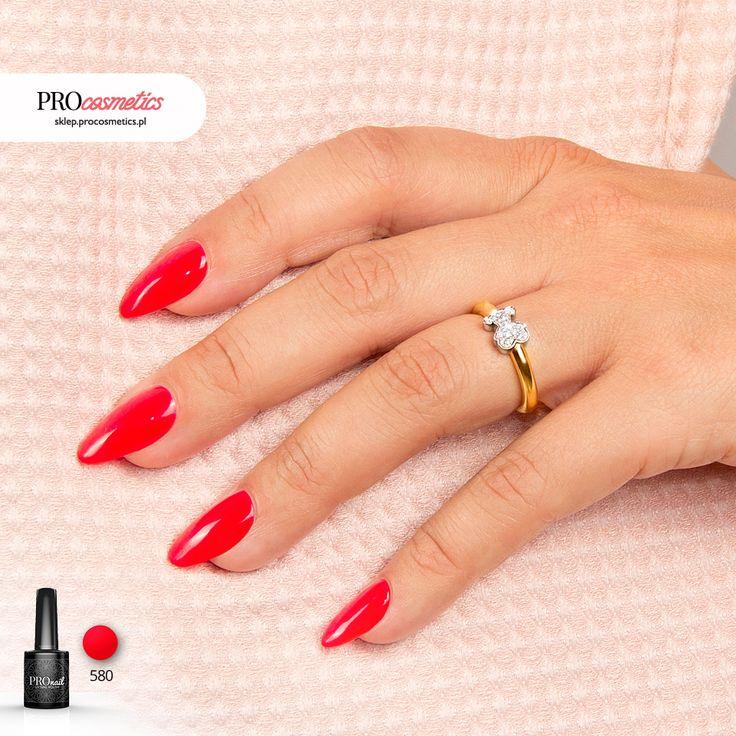Czerwone paznokcie Makowa Czerwień PROnail 580 paznokcie żelowe paznokie hybrydowe czerwony czerwona pomysły na paznokcie