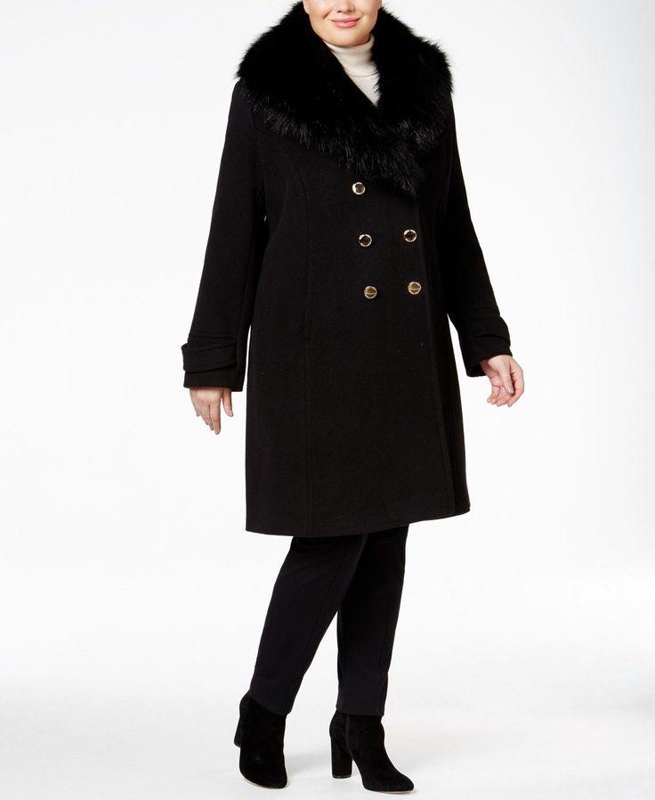 Ivanka Trump Plus Size Faux-Fur-Trim A-Line Women's Peacoat Black 2X MSRP $425