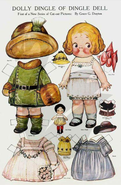 Free Dolly Dingle Paper Dolls | Uncut Dolly Dingle Paper Dolls by Grace G Drayton Pack 1 | eBay
