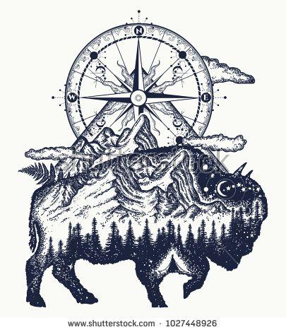 best 25 bison tattoo ideas on pinterest buffalo tattoo sketch art and cow illustration. Black Bedroom Furniture Sets. Home Design Ideas