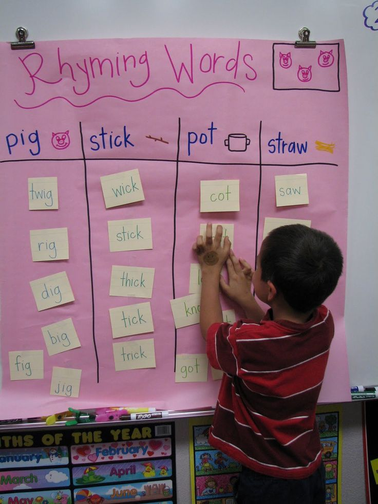 The Kinder Garden We also did a rhyming word sort activity right before reading The Three Little Pigs. Each student had a card with a word that they had to find around the room, read, and sort into the correct part of the chart