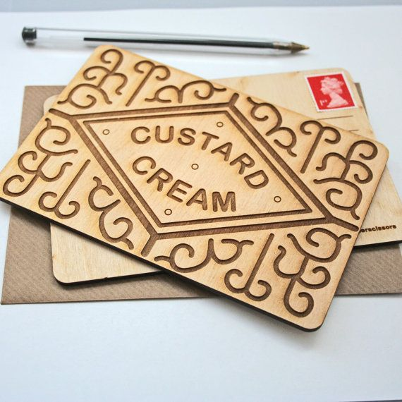Custard Cream biscuit wooden postcard. Designed and made by woodpaperscissorsuk £6.95